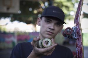"""Rodas para dar um """"Up"""" no skate, foto: Camilo Neres."""